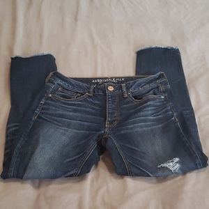 American eagle tomgirl dark wash destroyed jeans